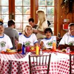 summer camp counsellors at dinner